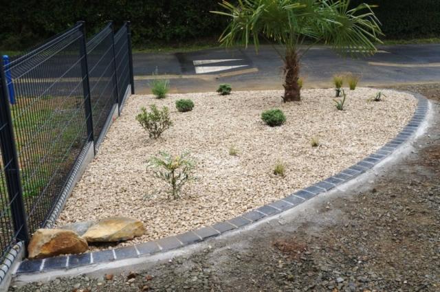 Création d'ambiance de jardin gravillon et palmier