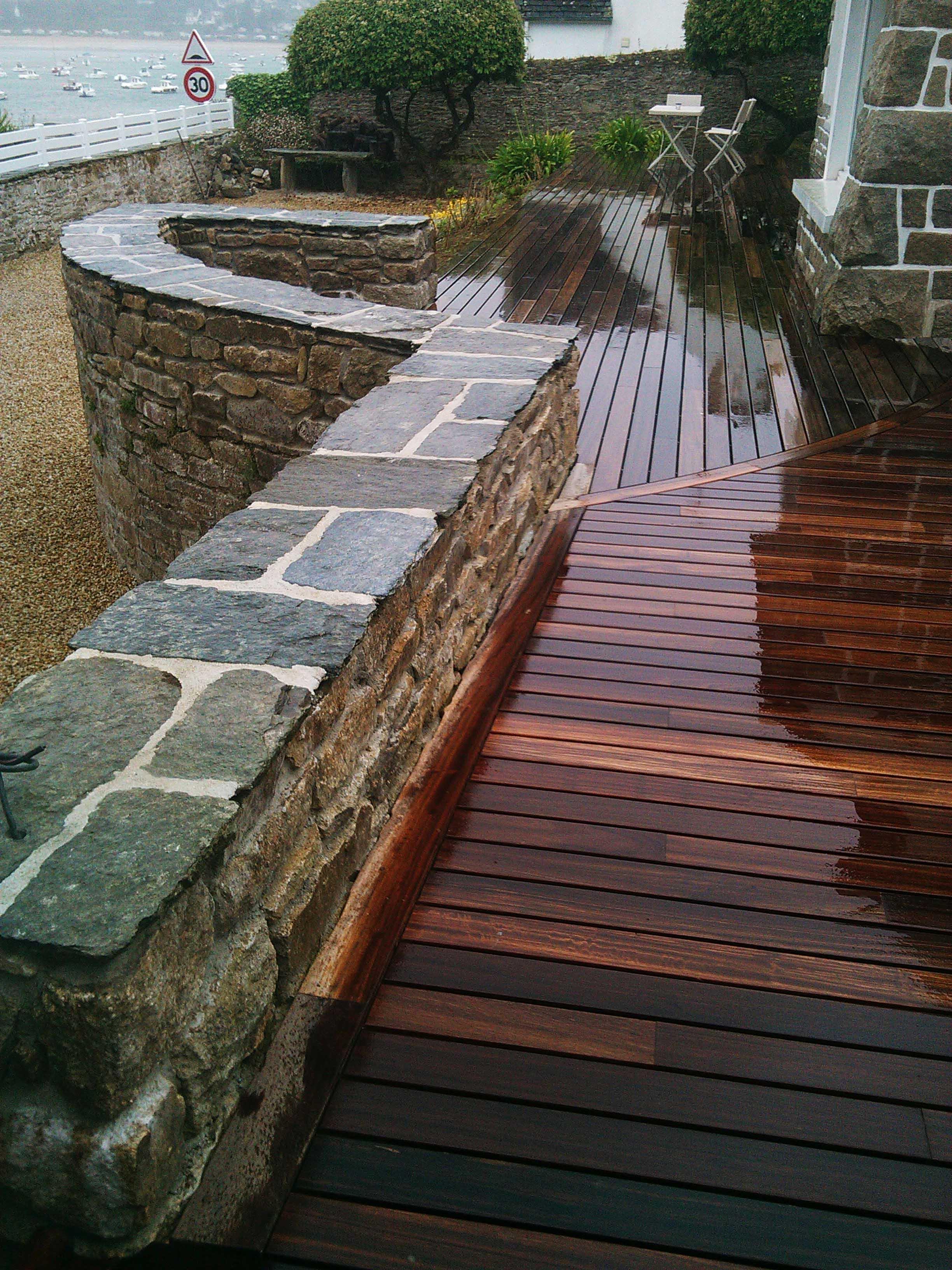 Rehaussement de muret pour banquette et terrasse bois exotique
